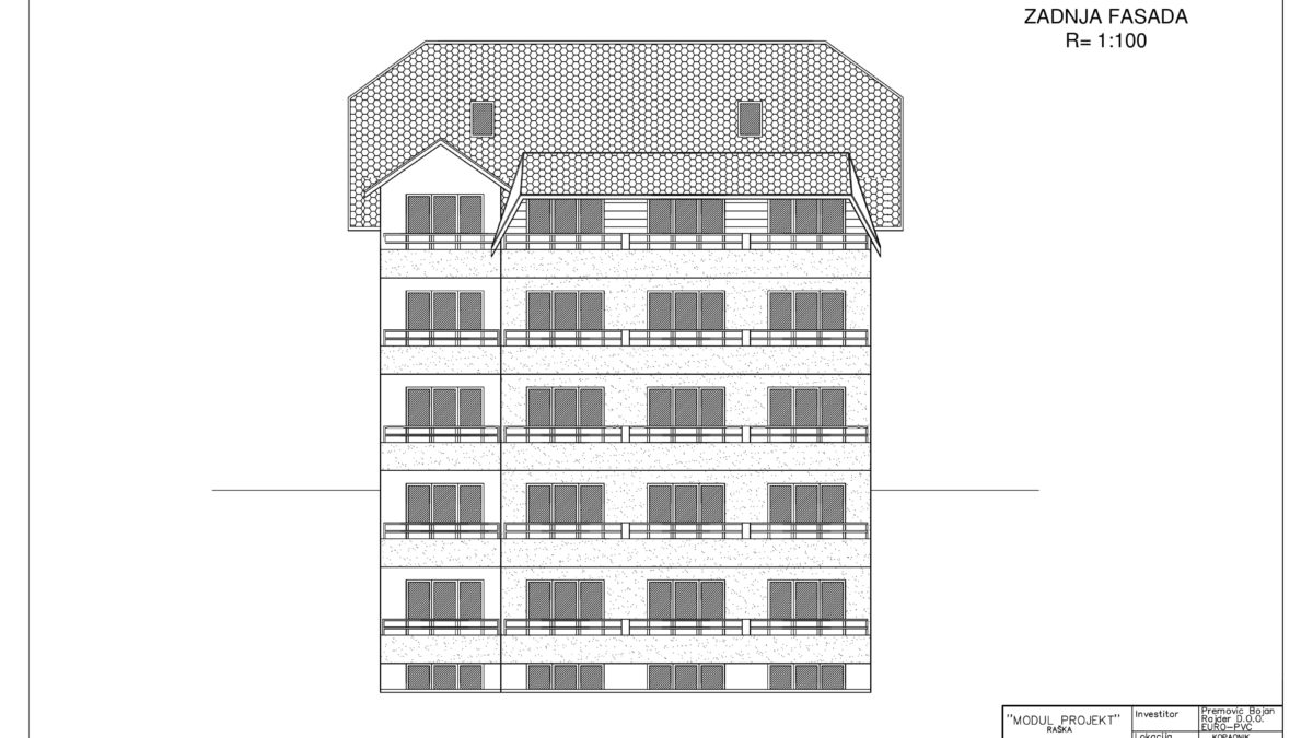 plan apartmani kopaonik Zadnja fasada